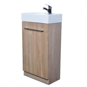 Jade Slimline Vanity Unit & Ceramic Basin Set - Oak