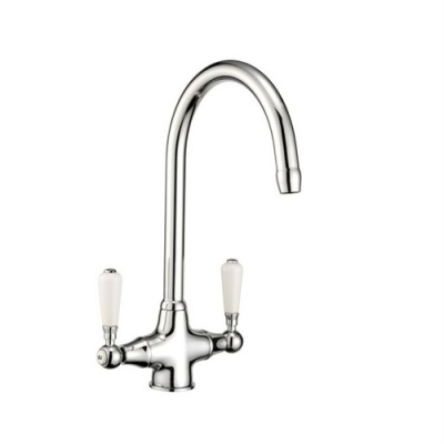The Swan Neck Sink Mixer Tap - White Feature Levers