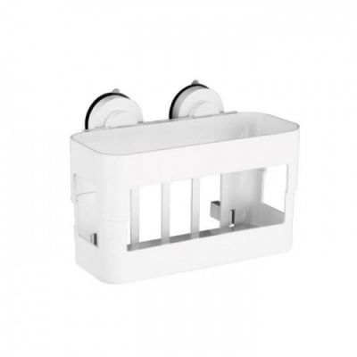Gecko Super Suction Wipe-Clean White Corner Basket