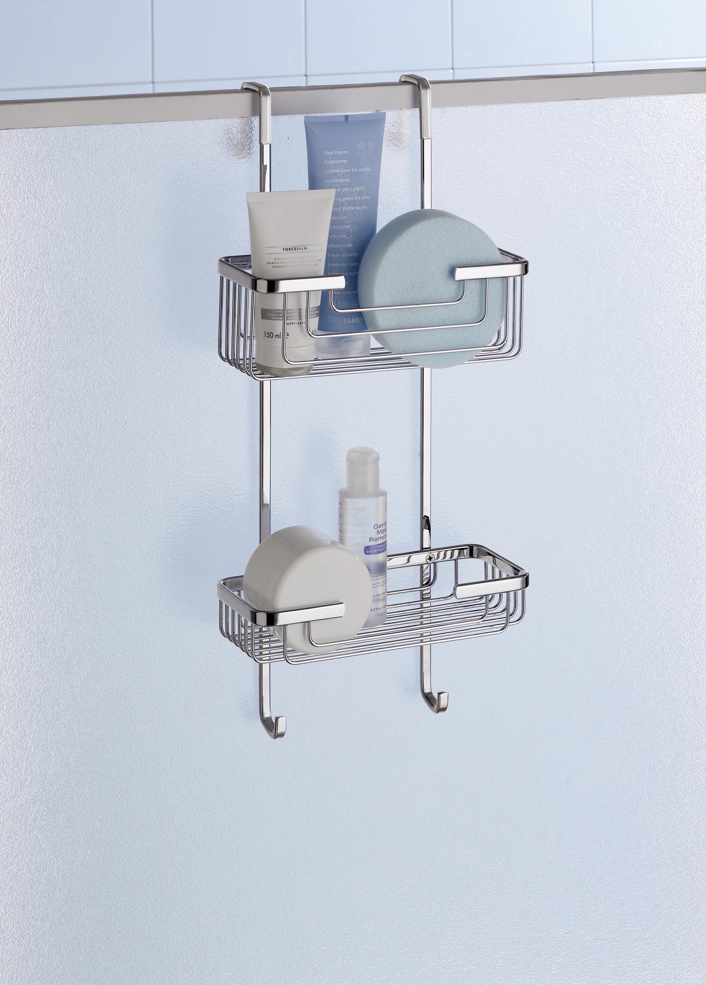 deluxe 2 tier overdoor hanging shower cubicle tidy. Black Bedroom Furniture Sets. Home Design Ideas