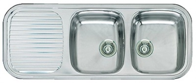 Utility Two Bowl Sink & Integrated