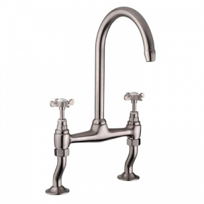Reginox High Spout Sink Mixer - Classic Brushed Nickel