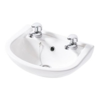 Compact Wall Cloakroom Basin - 2 Tap Holes