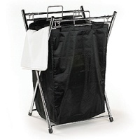 Laundry Bag on Chrome stand - Black