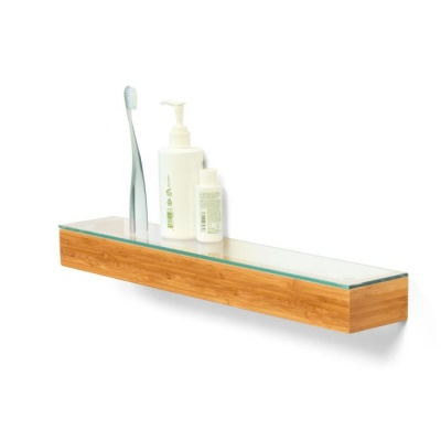 Arena Bamboo Bathroom Shelf with Glass Top