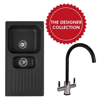 Century 1.5 Black  Sink & Tap Pack
