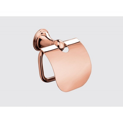 Genoa Rose Gold Toilet Roll Holder With Cover