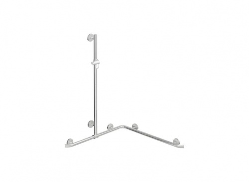 HEWI Shower Grab Rail with Vertical Support Bar and Shower Head Holder | WARM TOUCH