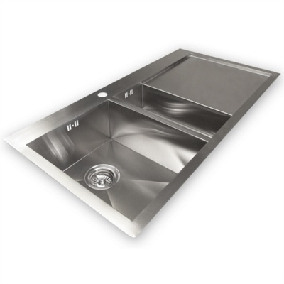 Zen 'Duo' 61F Luxury 2 Bowl & Drainer Kitchen Sink - Left Handed