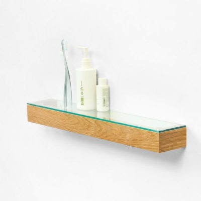 Natural Oak Bathroom Shelf with Glass Top