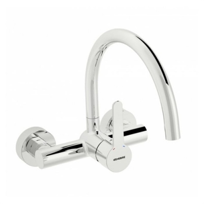 Oslo Wall Mounted 'Swan Neck' Kitchen Sink Tap