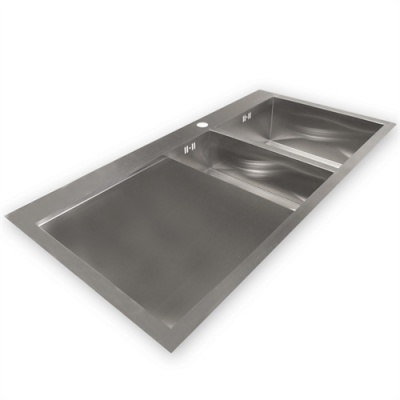 Zen 'Duo' 61F Luxury 2 Bowl & Drainer Kitchen Sink - Right Handed