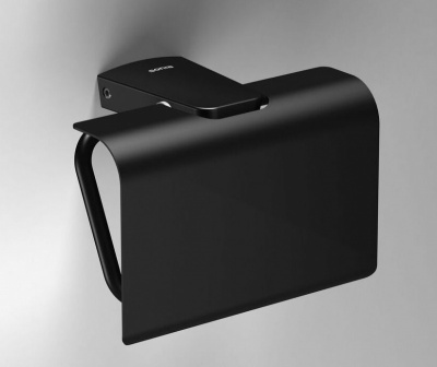 S6 Black Toilet Roll Holder with Flap