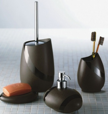 Stone Mocha Freestanding Bathroom Accessory Set