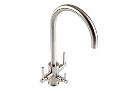 Trio Filter Kitchen Tap - Brushed Steel Finish