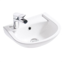 Compact Wall Cloakroom Basin - 1 Tap Hole
