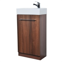 Jade Slimline Vanity Unit & Ceramic Basin Set - Walnut