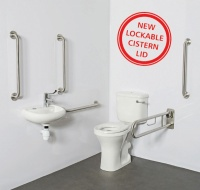 Commercial Doc M Toilet Pack - Close Coupled with LOCKABLE CISTERN LID