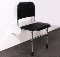 Black padded Doc M shower seat with legs