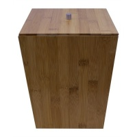 Natural Bamboo Bathroom Bin with Lid