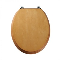 Real Wood Veneer Toilet Seat - Pine Finish