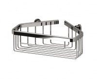 Sonia Deep Corner Fitting Bottle Basket - Chrome On Brass