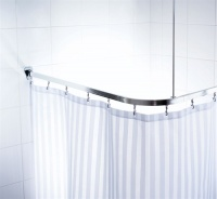Universal Shower Curtain Track - Chrome Effect