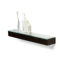 Dark Oak Bathroom Shelf with Glass Top