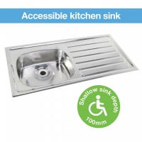 Hart Accessible Kitchen Sink -100mm Depth