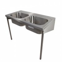 HTM64 Hospital Wall Mount Double Bowl Scrub Basin