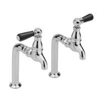 Classic Black Lever Pillar Taps on Stands
